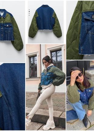 Эффектный джинсовый пиджак zara с контрастными рукавами, р.л-хл