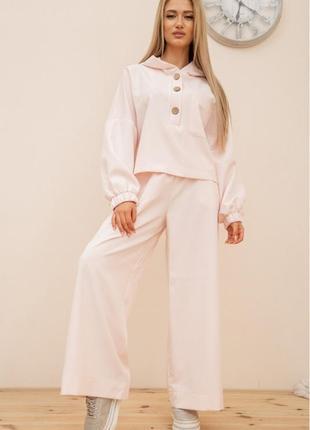 Костюм женский свободный фаслн, широкие брюки цвет светло-розовый