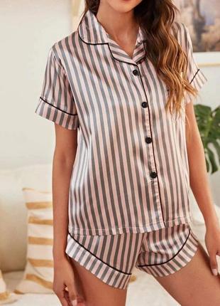 Пижама женская шелковая в полоску. пижама женская с коротким рукавом и шортами