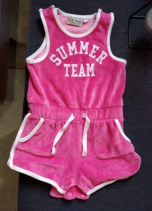 Комбинезон лето для девочки розовый шорты