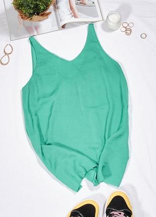 Зеленая шифоновая майка женская3 фото