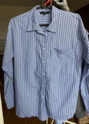 Рубашка в полоску оверсайз oversize в пижамном стиле спущенное плечо