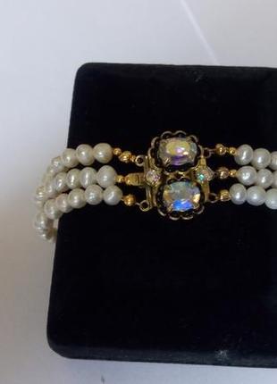Красивый браслет ,ювелирное стекло (aurora borealis ) , речной жемчуг. винтаж. европа