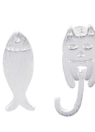 Креативные нержавеющие серьги кот рыбка / большая распродажа!3 фото