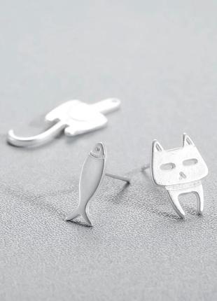 Креативные нержавеющие серьги кот рыбка / большая распродажа!7 фото