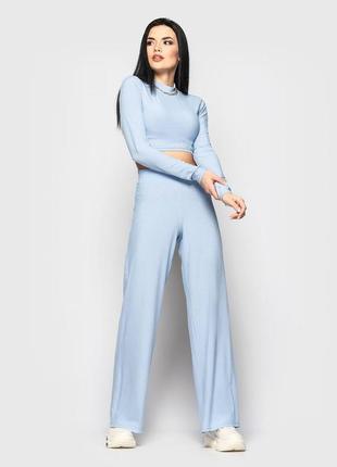 Голубой костюм с топом рубчик