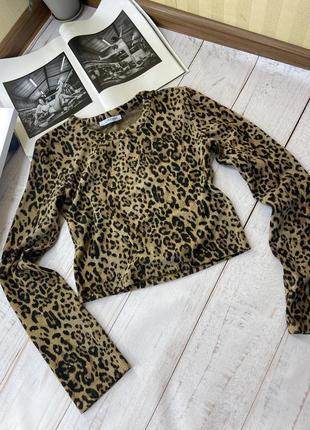 Укороченная леопардовая кофта, топ, свитшот zara