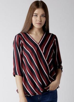 Стильная блузка в полоску на запах размер xxl-3xl(46-48)
