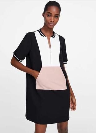 Платье zara на молнии с карманом спереди