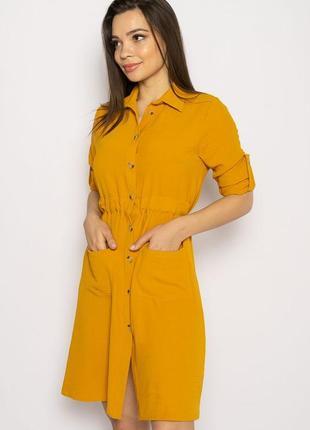 Платье-рубашка на завязках 633f001 горчичный и оливковый