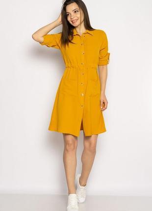 Платье-рубашка на завязках 633f001 горчичный и оливковый2 фото