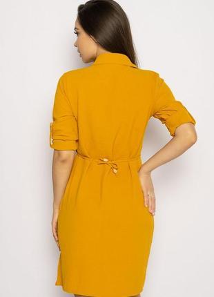 Платье-рубашка на завязках 633f001 горчичный и оливковый4 фото