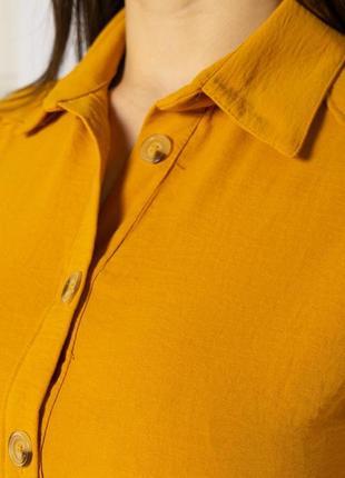 Платье-рубашка на завязках 633f001 горчичный и оливковый6 фото