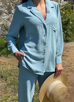 Хлопковый бирюзовый голубой костюм из жатого хлопка