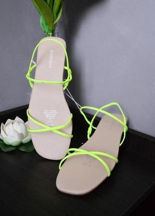 Яркие неоновые босоножки сандалии h&m размеры в наличии 36 37 38 39 40