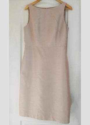 Шикарное сатиновое платье цвета шампанского