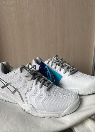 Кроссовки теннисные asics gel resolution 7 белые с серым silver white8 фото