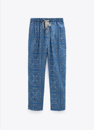 Легкие брюки zara, летние штанишки, льняные брючки зара