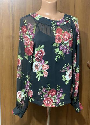 Блузка с майкой в цветок