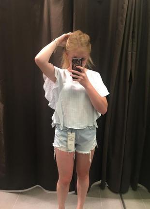 Блуза глакитно-біла zara