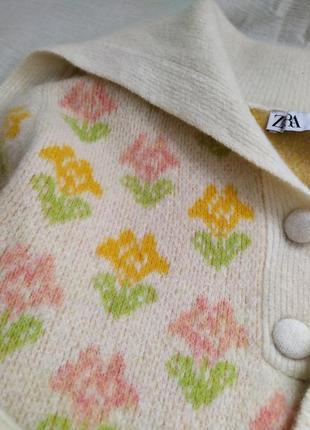 Шерстяной трендовый свитер в цветочек поло6 фото