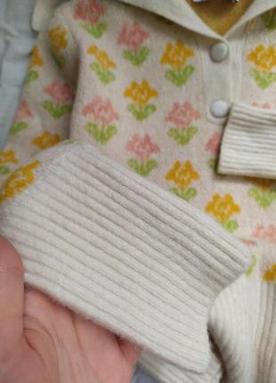 Шерстяной трендовый свитер в цветочек поло5 фото