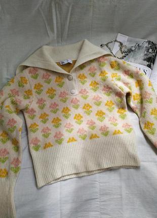 Шерстяной трендовый свитер в цветочек поло7 фото