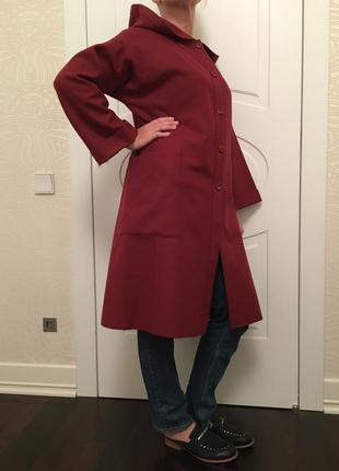 Пальто демисезонное шерстяное красное