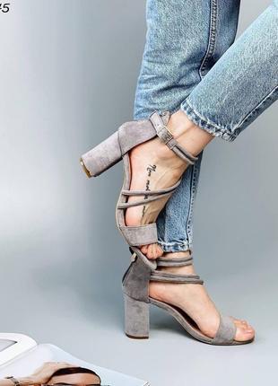 Босоножки женские туфли замшевые замша серые на застёжке замочке
