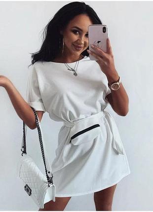 Женское летнее платье с сумочкой на поясе. норма и батал