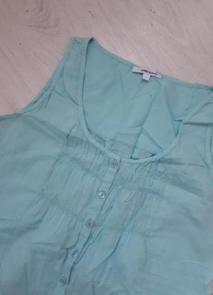 Блуза-рубашка мята хлопок р.40