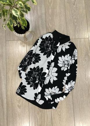 Блуза рубашка  в цветы размер 8-10