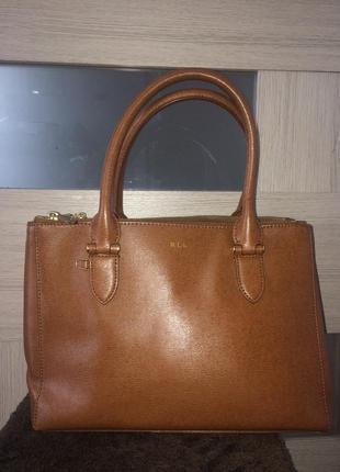 Ralph lauren стильная сумка из натуральной кожи
