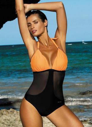 Priscilla m-428 col.6 marko монокини цельный купальник  черный с оранжевым