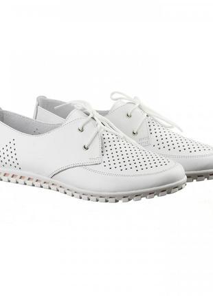 Кожаные женские белые туфли мокасины с перфорацией на шнурках натуральная кожа3 фото