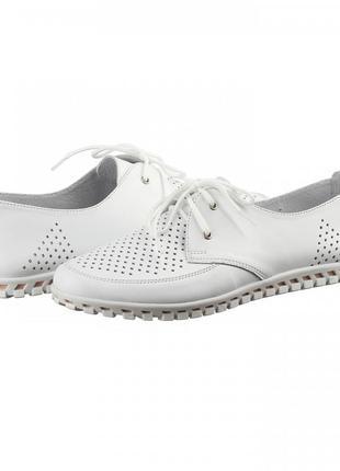 Кожаные женские белые туфли мокасины с перфорацией на шнурках натуральная кожа2 фото