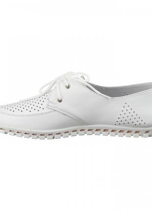 Кожаные женские белые туфли мокасины с перфорацией на шнурках натуральная кожа6 фото