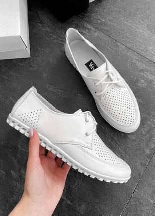 Кожаные женские белые туфли мокасины с перфорацией на шнурках натуральная кожа