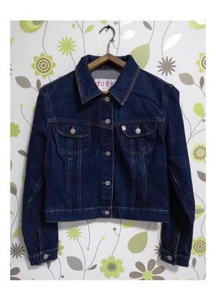 Куртка косуха джинсовая джинсова денім синяя темно синя usa guess база