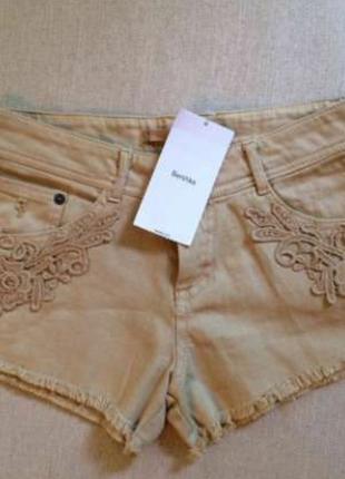 Bershka шорты бежевые телесные коричневые с кружевом кружевные