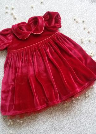 Платье нарядное бархатное красное 9-12 мес и 12-18