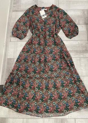 Хлопковое платье миди цветочный принт zara