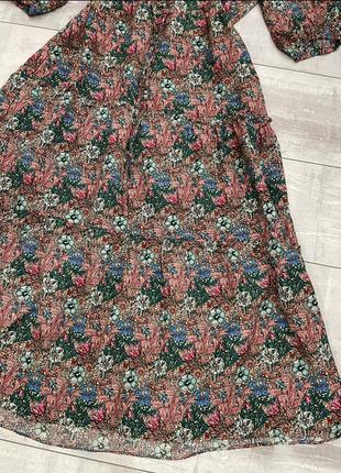 Хлопковое платье миди цветочный принт zara4 фото