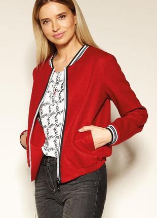 Куртка бомбер с подкладкой zaps женская весенняя осенняя красная на молнии с карманами