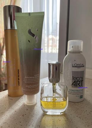 Набор для ухода за волосами: шампунь, скраб, масло и лак