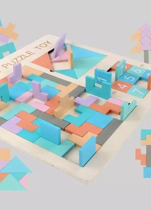 Деревянная головоломка 3в1 развивающая игра для детей с цифрами, блоками и фигурами пазл