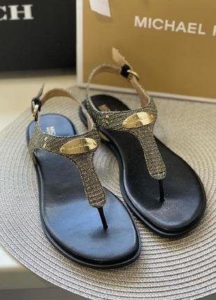 Босоножки michael kors logo plate leather sandal кожа оригинал