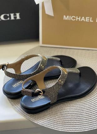 Босоножки michael kors logo plate leather sandal кожа оригинал3 фото