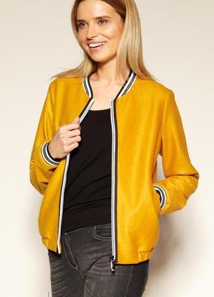 Куртка бомбер с подкладкой zaps женская весенняя горчичная желтая на молнии с карманами