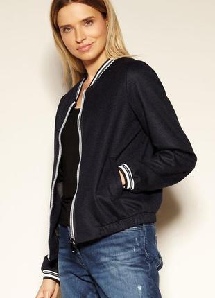 Куртка бомбер с подкладкой zaps женская весенняя осенняя темно-синяя на молнии с карманами